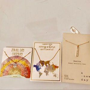 Necklaces: zen, world map, marble pattern